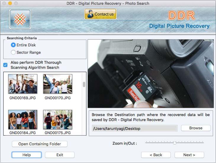 Utility to get back erased digital images